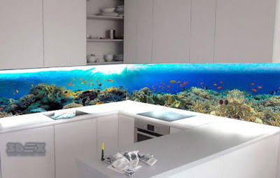 deep sea themed glass 3D backsplash design