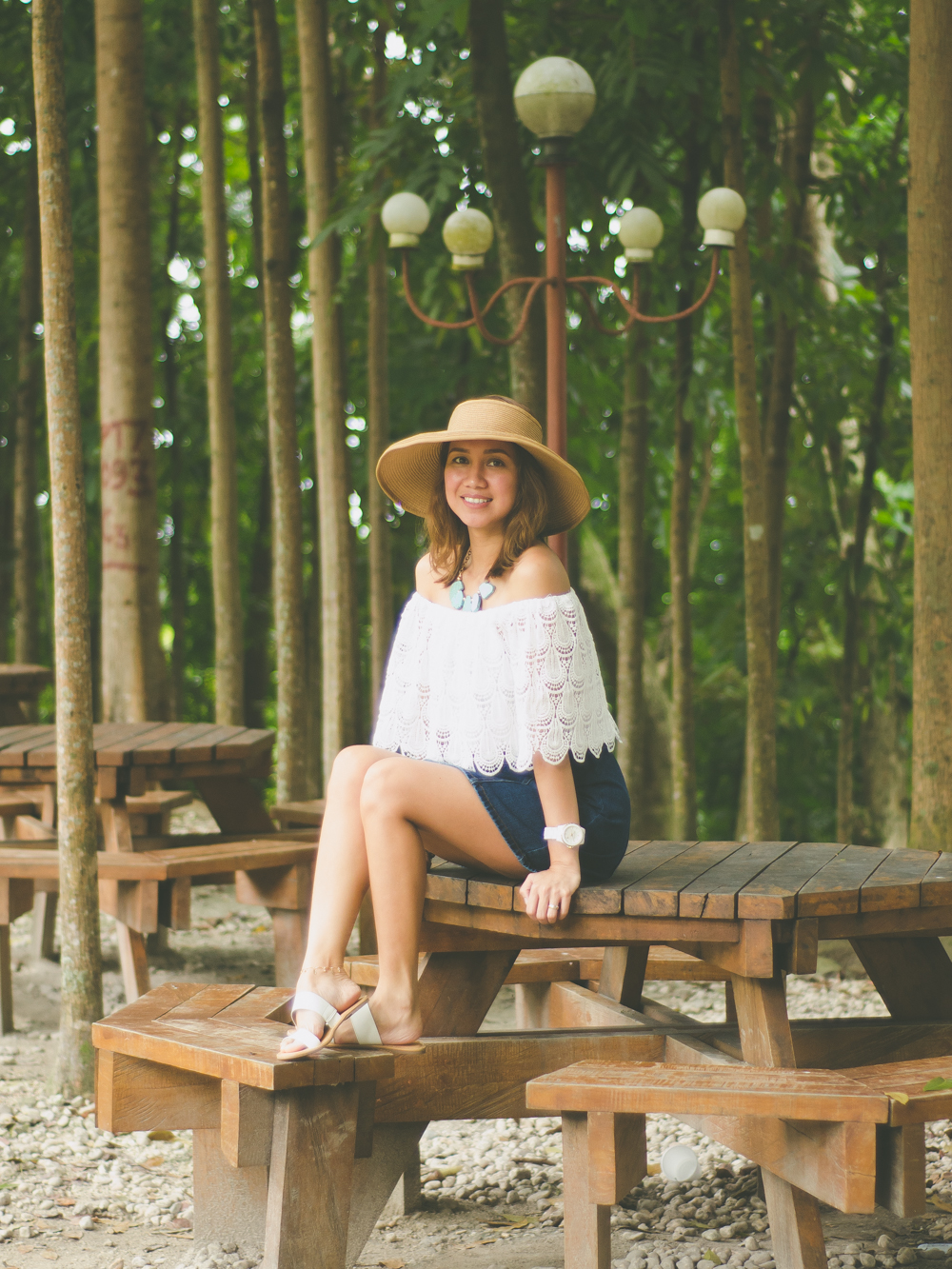 Alchemy of Fashion, Off Shoulder Top, Wide brimmed hat, Turquoise necklace, Denim Button-front skirt, A-Line Skirt, Seventies Trend, 70s Fashion, Celine Sandals, Denim A-line skirt, Cebu Fashion Blogger, Toni Pino-Oca, Cebu Fashion Blog, Cebu Blogger, Cebu Bloggers, Cebuana, Summer Outfit, Summer Style