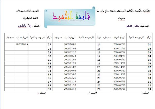 نموذج قائمة التلاميذ لسنة الخامسة إبتدائي-Word