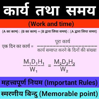 कार्य तथा समय के महत्त्वपूर्ण नियम और स्मरणीय बिन्दु मैथ (Important Rules and Memorable Points of Work and Time math)