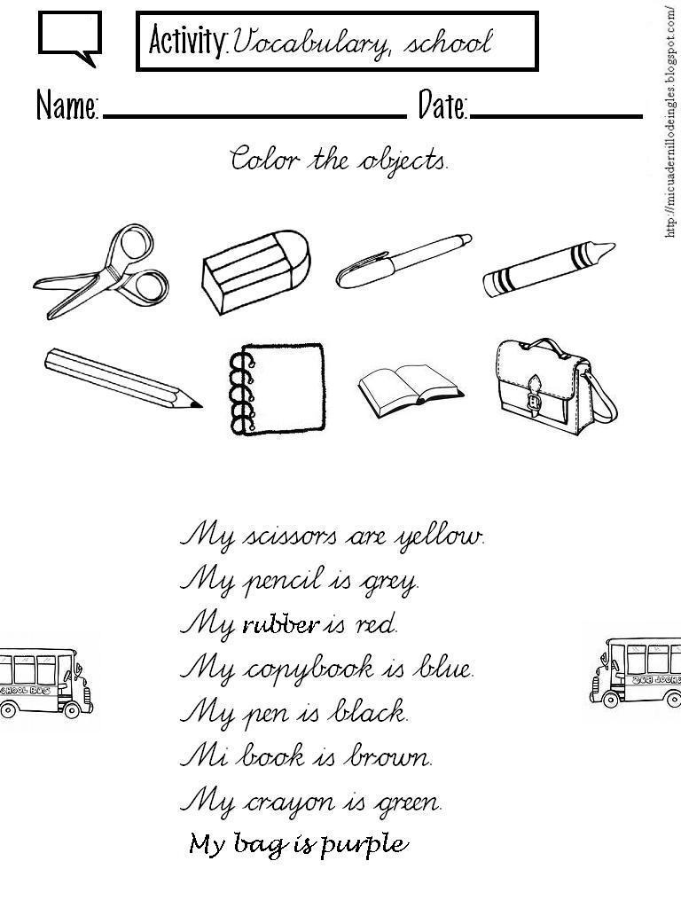 Imagenes Para Colorear Utiles Escolares