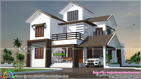2328 square feet 4 bedroom sloped roof home plan
