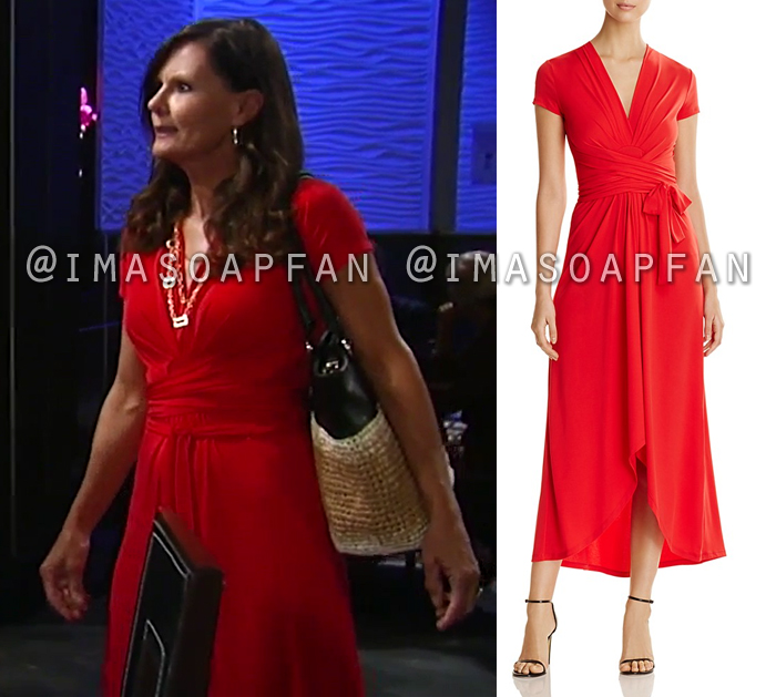 Lucy Coe, Lynn Herring, Red Wrap Jersey Dress, General Hospital, GH