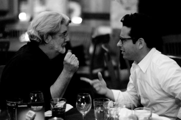 jj abrams havign a meal with george lucas