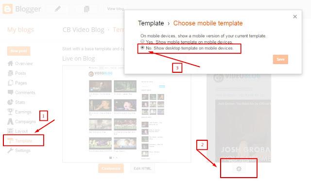 menonaktifkan remplate mobile bawaan blogger