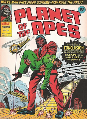 Marvel UK, Planet of the Apes #62, Cornelius holds his dead wife as helicopters fire at them