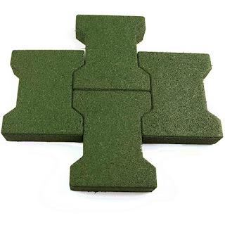 Greatmats Dog Bone Pavers green rubber pool deck tiles