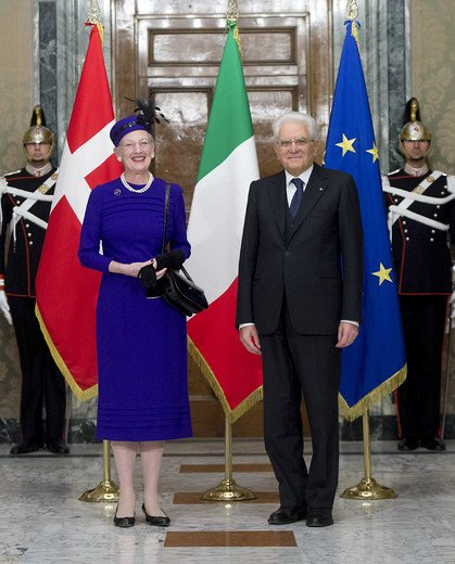 Queen Margrethe II of Denmark met with Italian President Sergio Mattarella at the Presidential Palace Palazzo Quirinale