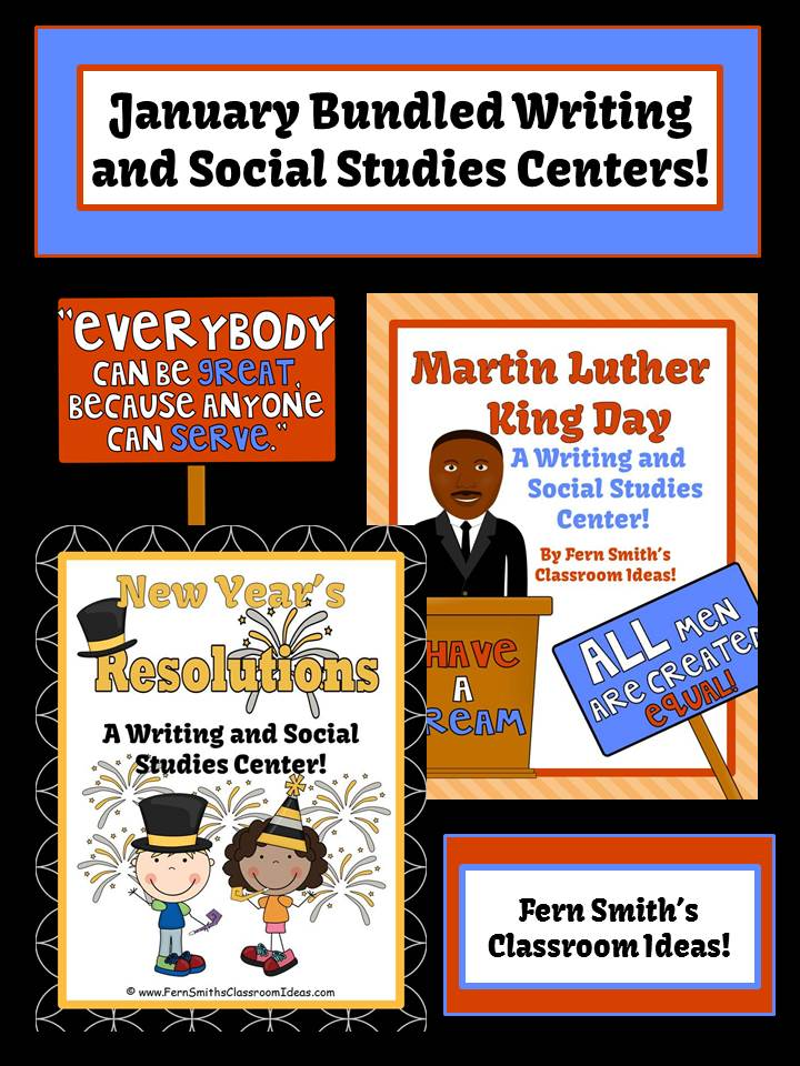 Fern Smith's Classroom Ideas Martin Luther King Jr. and New Year's Resolutions Literacy Centers