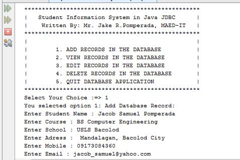 Free Programming Source Codes To All: Student Information System in