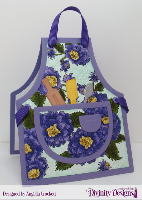 Divinity Designs: Daughter's Best Friend, Cross Stitch Embossing Folder, Apron and Tools Dies, Card Designer Angie Crockett