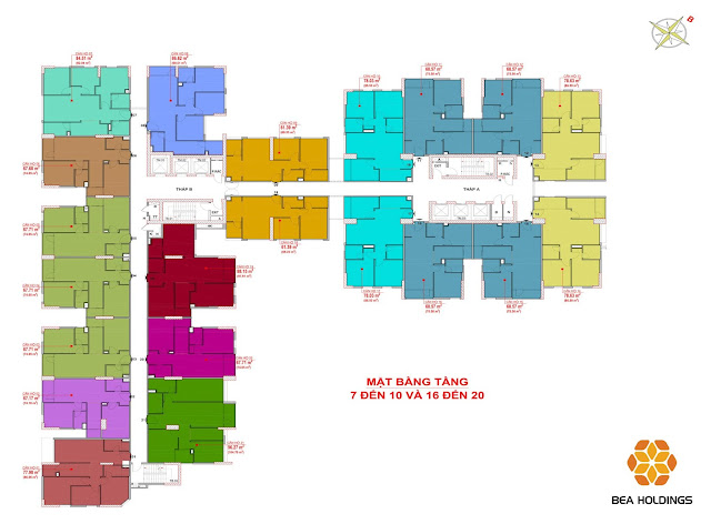 Mặt bằng tầng 7-10 và 16-20 chung cư Bea sky