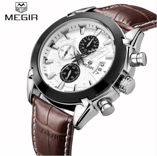 MEGIR Original Men Quartz Genuine Leather Chronograph Military-Sports Watch - QAR 185/- Only