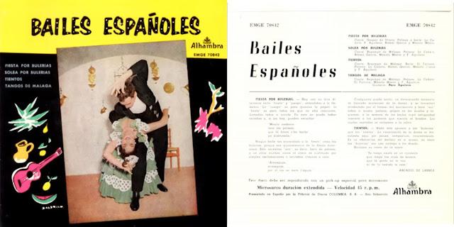 """GASPAR DE UTRERA, LA REPOMPA DE MÁLAGA, PACO AGUILERA """"BAILES ESPAÑOLES""""EP ALHAMBRA 1958. PRIMERA INCURCIÓN DISCOGRÁFICA DEL CANTAOR"""