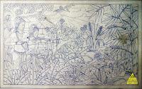sketsa gambar relief batu putih Srikandi berlatih memanah