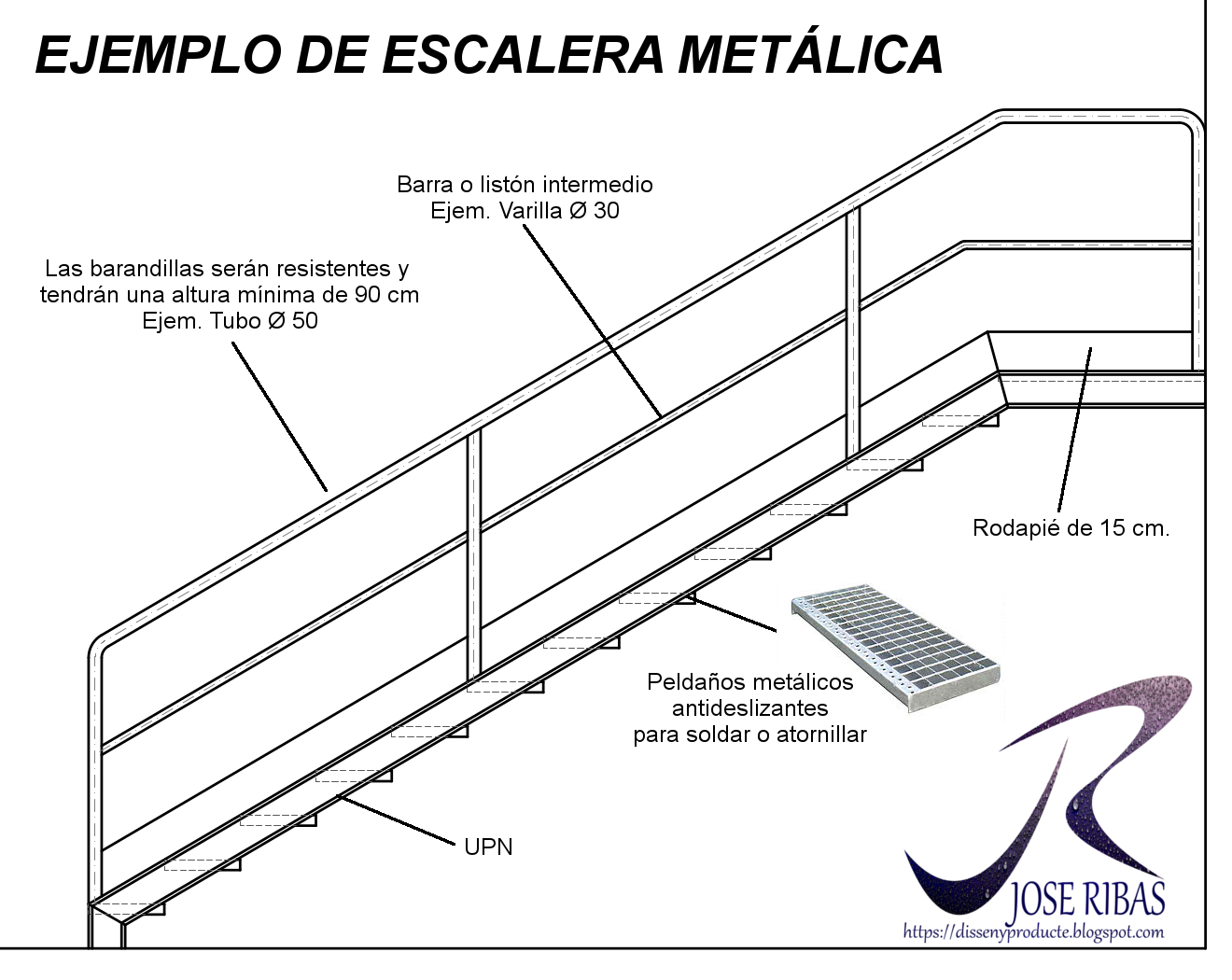 Ejemplo de escalera met lica de uso industrial disseny for Cuantos escalones tiene un piso