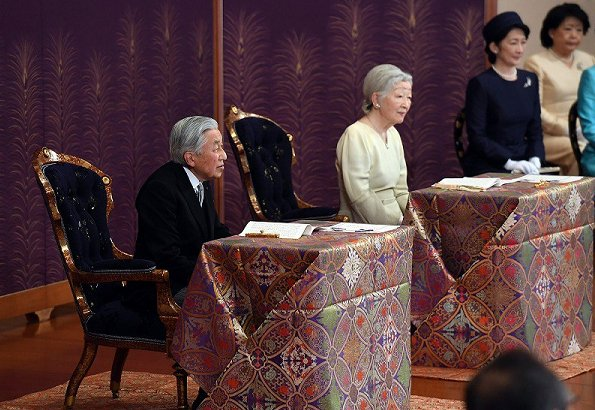 Emperor Akihito, Empress Michiko, Crown Prince Naruhito, Crown Princess Masako, Prince Akishino, Princesses Kiko, Hisako, Mako and Kako