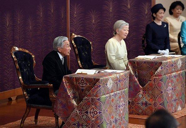 Emperor Akihito, Empress Michiko, Crown Prince Naruhito, Crown Princess Masako, Prince Akishino, Princesses Kiko, Hisako, Mako and Kako
