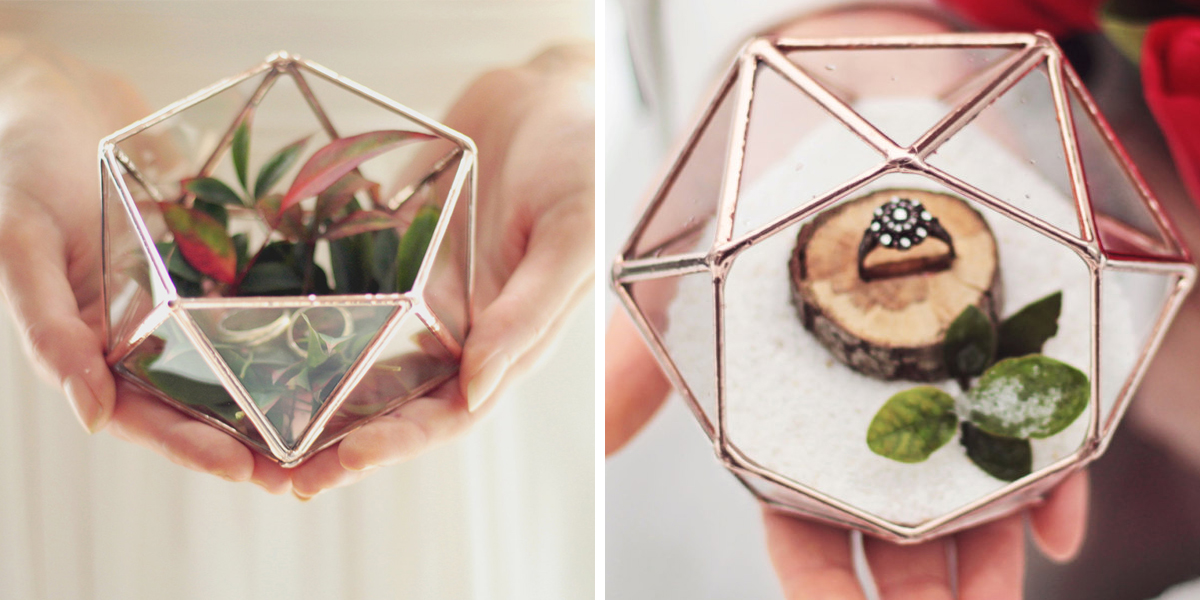 Geometric Ring Box Terrarium Ring Holders
