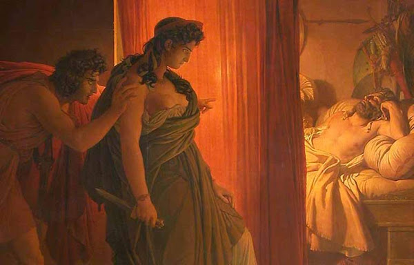 Clytemnestra hesitates before killing the sleeping Agamemnon by Pierre Narcisse Guerin, Macabre Art, Macabre Paintings, Horror Paintings, Freak Art, Freak Paintings, Horror Picture, Terror Pictures