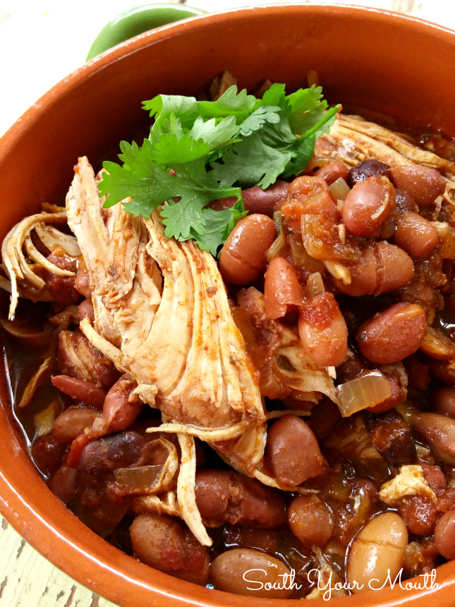 Slow Cooker Chicken Chili simmers low and slow in your crock pot for perfectly seasoned and tender chicken chili.