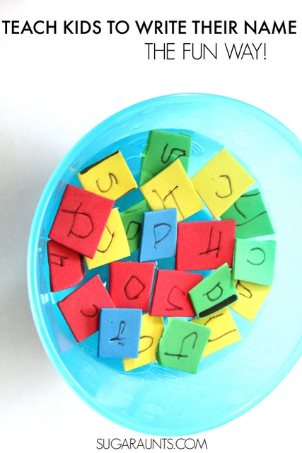 Teaching kids to write their name and practice letter formation with sensory soup