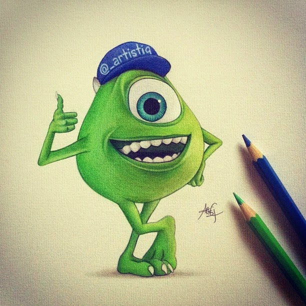 25-Mike-Monsters-University-Cas-_artistiq-Colored-Celebrity-and-Cartoon-Drawings-www-designstack-co