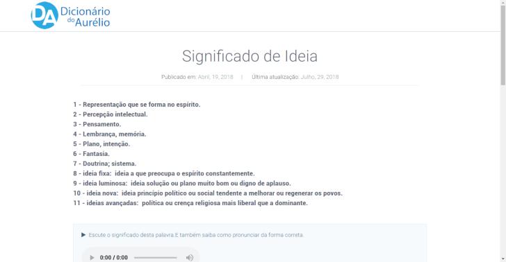 Busca no Dicionário Aurélio On-line