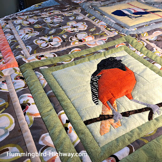 Close up quilting with Baltimore Oriole Block in table topper
