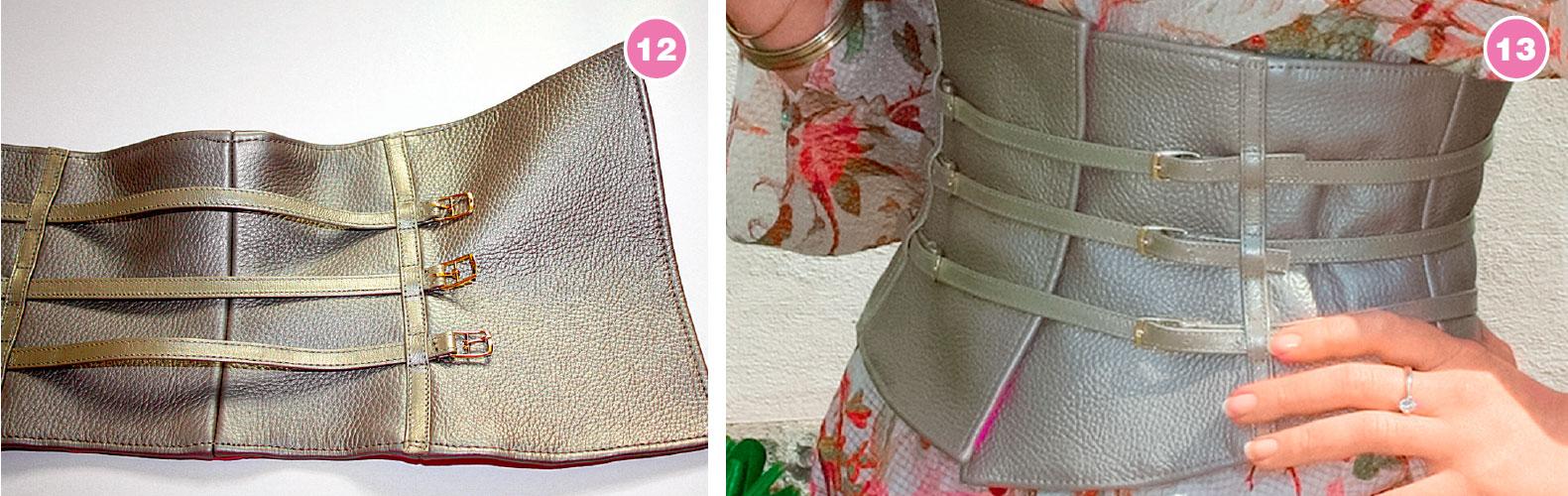 Двусторонний пояс-корсет из кожи и ткани