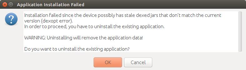 Failure [INSTALL_FAILED_DEXOPT] on Android Studio