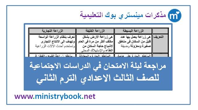 مراجعة ليلة الامتحان دراسات اجتماعية ثالثة اعدادي ترم ثاني 2019-2020-2021-2022-2023-2024-2025