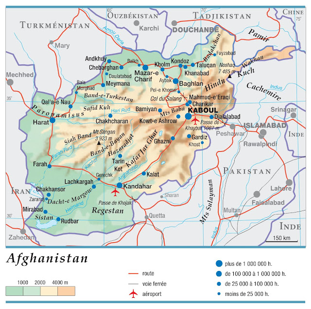 Carte simple de l'Afghanistan