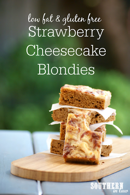 Healthy Strawberry Cheesecake Swirl Blondie Recipe - low fat, gluten free, healthy, low sugar, refined sugar free, low calorie dessert recipes