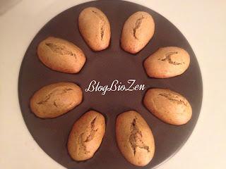 madeleines sans gluten sans lactose thé vert matcha après cuisson