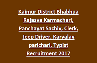 Collectorate Kaimur District Bhabhua Rajasva Karmachari, Panchayat Sachiv, Clerk, Jeep Driver, Karyalay parichari, Typist Recruitment 2017 295 Jobs