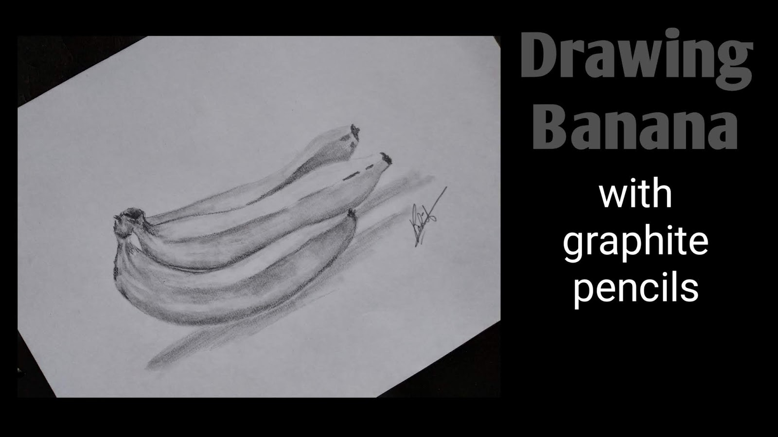 Artofrohit com how to draw banana with pencil on paper step by