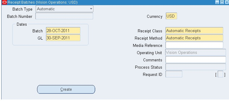Automatic Receipts and Remittance In R12 – Create a Receipt of Payment