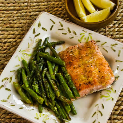 Roasted Wild Salmon and Asparagus Sheet Pan Meal with Double-Lemon Oil found on KalynsKitchen.com