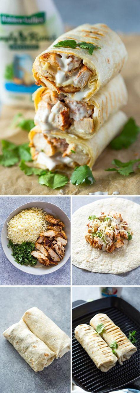 CHICKEN RANCH WRAPS #chicken #chickenrecipes #chickenwraps #dinnerrecipes #dinnerideas #easydinnerrecipes