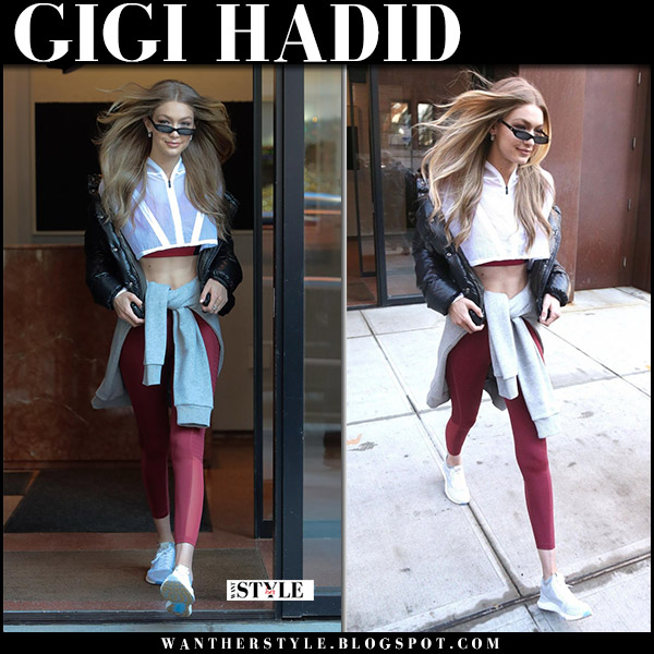 Gigi Hadid in white crop top, burgundy leggings and sneakers reebok workout fashion december 14