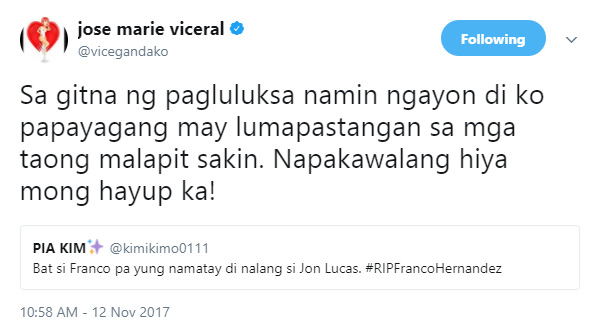 Vice Ganda angered by netizen's comment on Hashtags Frano's death