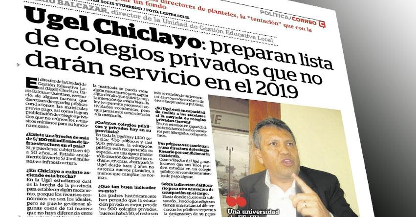 UGEL Chiclayo prepara lista para cerrar colegios privados en el 2019