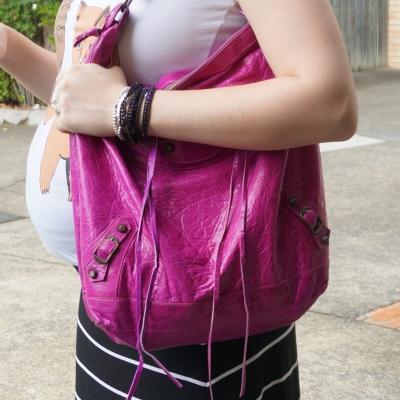 AwayFromTheBlue | Balenciaga magenta day hobo bag Roie Designs wrap bracelet baby bump
