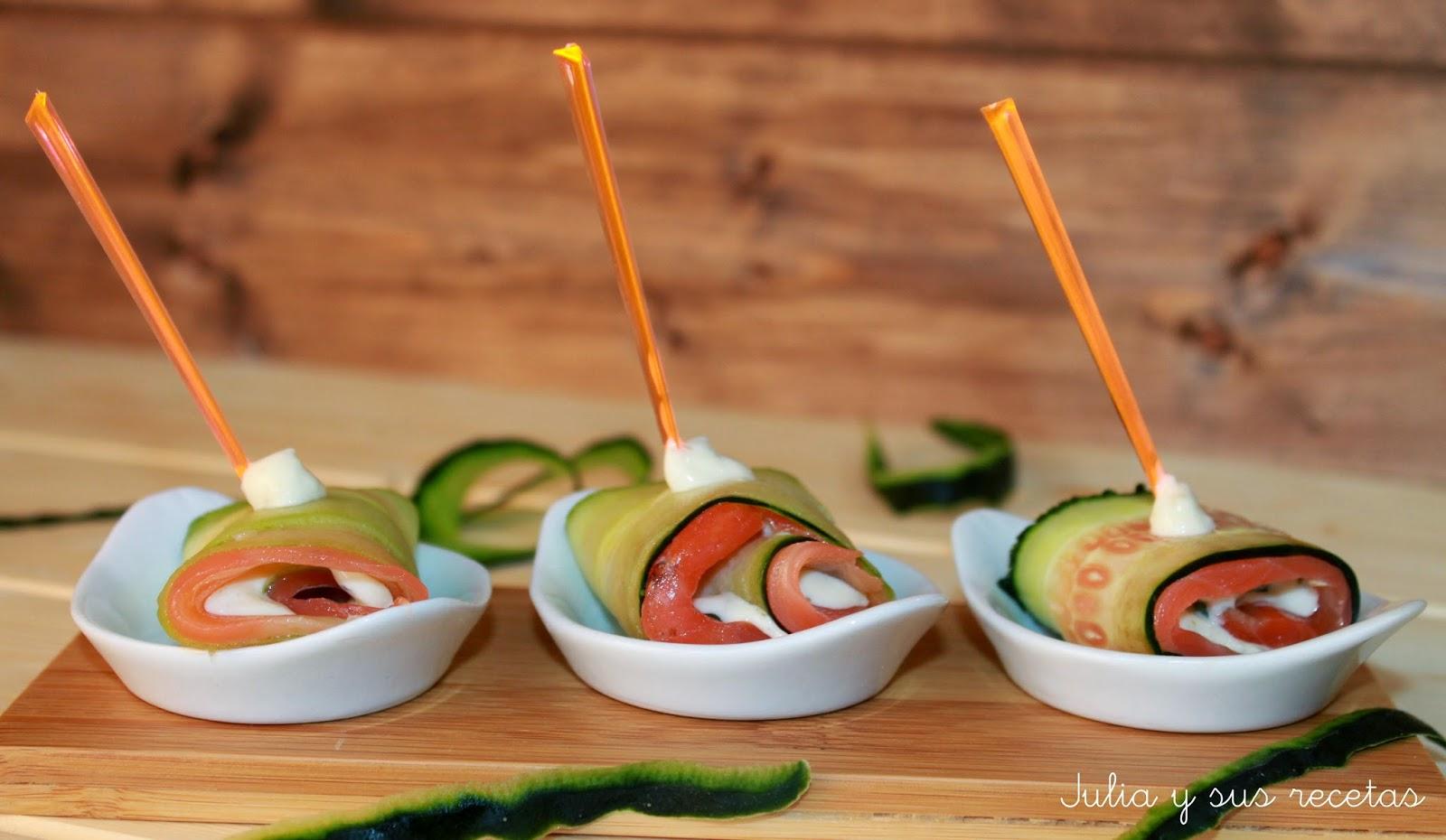 Trucha ahumada con pepino y salsa tártara. Julia y sus recetas