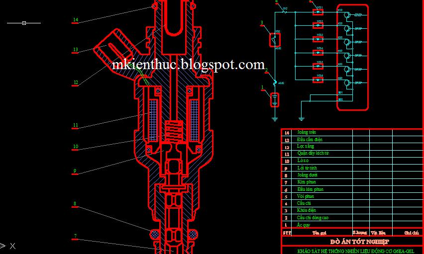 bản vẽ đồ án hệ thống nhiên liệu động cơ G6EA-GSL2.7