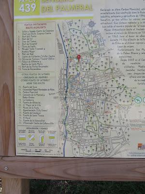 Plano de la senda del Palmeral de Elche