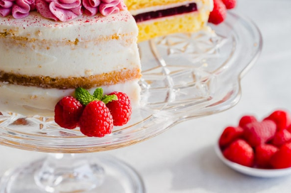 Raspberry Layer Cake with Cream Cheese Frosting