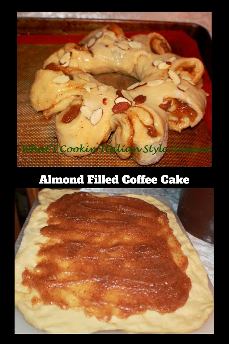 This is a sweet risen pastry dough filled with almond filling coffee cake with almonds on top and frosting.