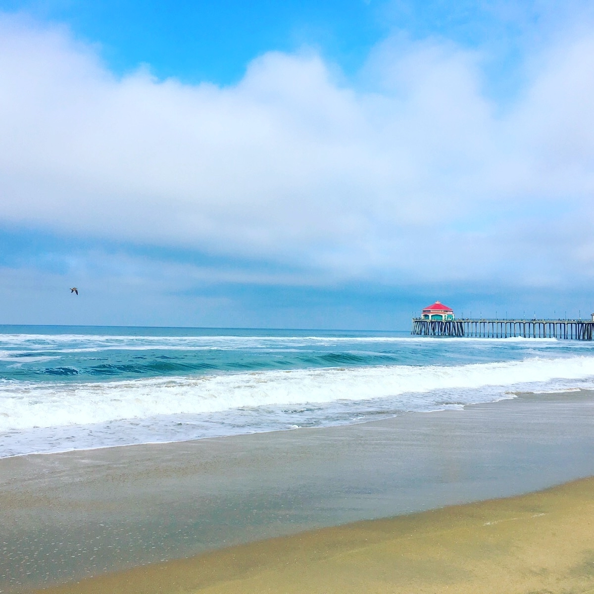 This is a photo of Huntington Beach's beach, with the pier in the background.